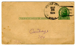 открытка s цента одного 1920 cancel стоковое изображение rf