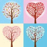 Открытки для день ` s рождества, Нового Года и валентинки Зима праздника & собрание весны деревьев в форме сердца вектор Стоковые Фото