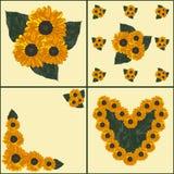 4 открытки с солнцецветом и листьями в желтых цветах Стоковые Фото