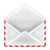 Открытое изолированное вид спереди объекта конверта Стоковое фото RF