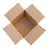 открытое коробки изолированное картоном Стоковые Фотографии RF