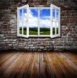 Открытое окно в комнате Стоковое Изображение RF