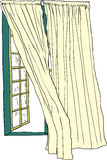 Открытое окно и дуя занавесы иллюстрация штока
