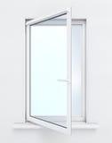 Открытое окно на белой предпосылке 3d представляют цилиндры image стоковые фотографии rf
