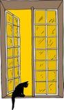 Открытое окно при кот смотря вне иллюстрация штока