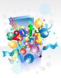 Открыто исследуйте коробку подарка на Новый Год иллюстрация штока