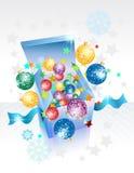 Открыто исследуйте коробку подарка на Новый Год иллюстрация вектора