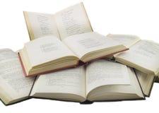 Открытые книги изолированные над белизной стоковое фото rf