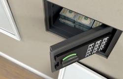 Открытые сейф и банкноты стены стоковые фото
