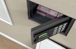 Открытые сейф и банкноты стены стоковое изображение