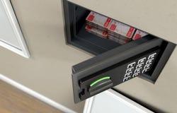 Открытые сейф и банкноты стены стоковое фото rf