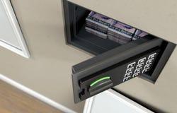 Открытые сейф и банкноты стены стоковые изображения rf
