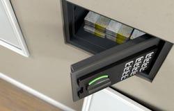 Открытые сейф и банкноты стены стоковая фотография