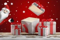 Открытые сюрприз и подарки на рождество подарка на рождество с снегом бесплатная иллюстрация