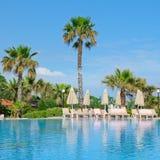 Открытый бассейн, пальмы и sunloungers Стоковые Изображения RF