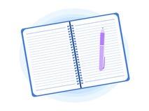 Открытый блокнот с иллюстрацией вектора стиля ручки плоской иллюстрация вектора