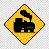 Открытый железнодорожный переезд знака на прозрачной предпосылке иллюстрация вектора