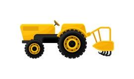 Открытый желтый трактор с потрошителем или плугом зубца аграрное машинное оборудование засаживая весну сеялки Вспахивать оборудов бесплатная иллюстрация