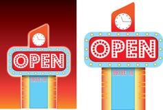 Открытый знак для рекламы стиля обедающего обочины ретро винтажной Стоковые Фотографии RF
