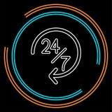 Открытый 24 значка 7 обслуживания, обслуживание клиента вектора иллюстрация вектора