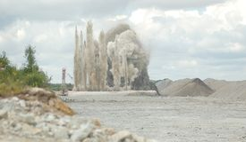открытый карьер взрыва Стоковые Фотографии RF