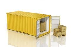 Открытый контейнер с картонными коробками иллюстрация штока
