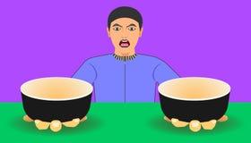 Открытый космос на чашке для вашего продвижения еды изделия шоу 2 человека для еды порекомендовали иллюстрация eps10 иллюстрация вектора