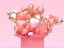 Открытый перевод Валентайн 3d конспекта подарочной коробки бесплатная иллюстрация