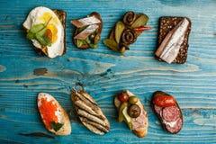 Открытый сандвич или smorrebrod Стоковые Изображения
