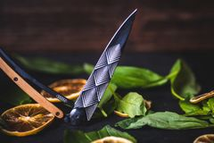 Открытый складывая нож лежит на таблице Стоковое Изображение