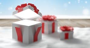 Открытый сюрприз 3d-illustration подарка рождества иллюстрация вектора