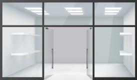Открыть двери космоса магазина 3d реалистические Windows магазина пустые внутренние передние Shelves вектор предпосылки модель-ма иллюстрация штока