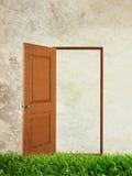 Открыть дверь на зеленой траве над предпосылкой grunge Стоковые Фото