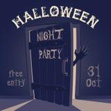 Открыть дверь на партии ночи хеллоуина Стоковые Изображения RF