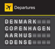 Отклонения авиапорта алфавита сальто Дании, Копенгаген, Aashus, Оденсе Стоковые Изображения