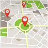 Отключение и перемещение, дорожная карта навигации с штырями Стоковое Фото