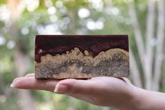 Отливка бара узелка Afzelia деревянная с эпоксидной смолой стабилизируя для пробелов стоковое фото rf
