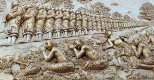 Отливка длинной очереди buddhas стоковая фотография