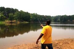 отливка рыболова стоковое фото rf