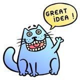отличная идея Милый окрик кота также вектор иллюстрации притяжки corel Стоковое Фото