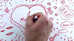 Отметка надписи 8-ого марта красная сток-видео