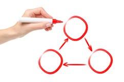 Отметка человеческой руки красная кругового процесса чертежа вручителя в 3 участках стоковое изображение