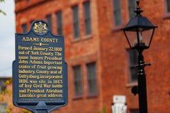 Отметка Adams County историческая стоковая фотография rf