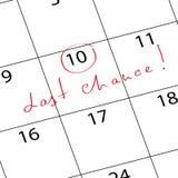 Отметьте последний шанс календаря иллюстрация штока