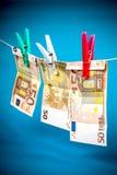 Отмывание денег от 50 примечаний евро Стоковое фото RF