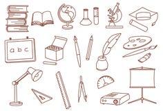 отнесенные иконы образования doodle Стоковая Фотография RF