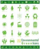 относящие к окружающей среде зеленые иконы Стоковое Фото