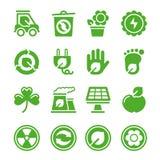 относящие к окружающей среде зеленые иконы Стоковое фото RF