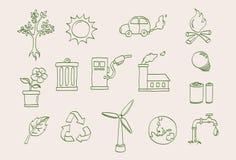 относящий к окружающей среде комплект иконы Стоковое Изображение