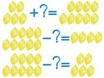 Отношение действия добавления и вычитания, примеров с лимонами Стоковое Фото